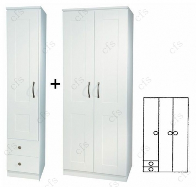 Kingston White 3 Door Plain Wardrobe with Drawer