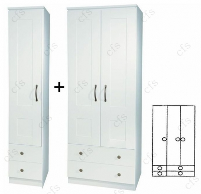 Kingston White 3 Door Wardrobe with Drawer