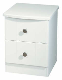 Kingston White Bedside Cabinet - 2 Drawer