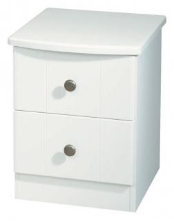 Kingston White Bedside Cabinet - 2 Drawer