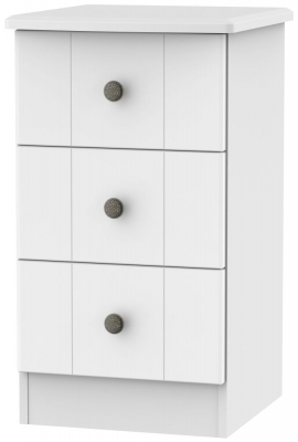 Kingston White Bedside Cabinet - 3 Drawer Locker