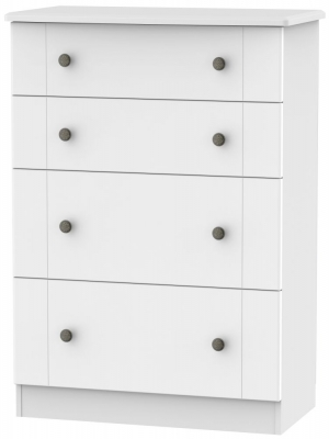 Kingston White Chest of Drawer - 4 Drawer Deep