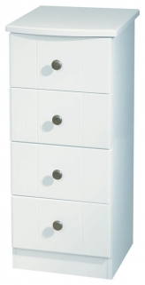 Kingston White Chest of Drawer - 4 Drawer Narrow