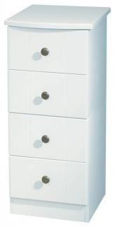 Kingston White Chest of Drawer - 4 Drawer Narrow