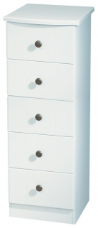 Kingston White Chest of Drawer - 5 Drawer Narrow