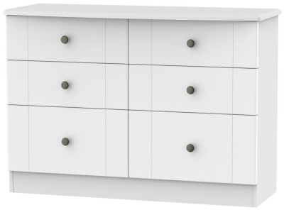 Kingston White Chest of Drawer - 6 Drawer Midi