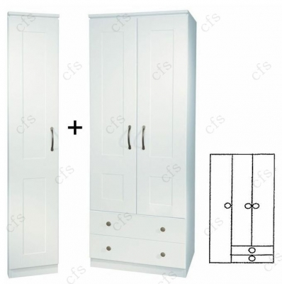 Kingston White Tall 3 Door 2 Drawer Wardrobe with Mirror