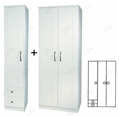 Kingston White Tall 3 Door Plain Wardrobe with Drawer