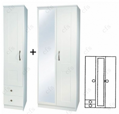 Kingston White Tall 3 Door Wardrobe with Mirror and Drawer