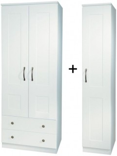 Kingston White Tall Triple 2 Drawer Wardrobe