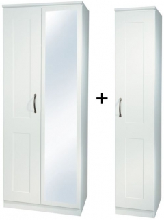 Kingston White Tall Triple Mirror Wardrobe