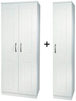 Kingston White Tall Triple Plain Wardrobe