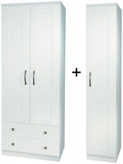 Kingston White Triple 2 Drawer Wardrobe
