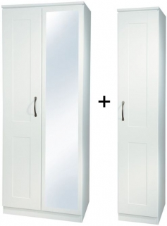 Kingston White Triple Mirror Wardrobe