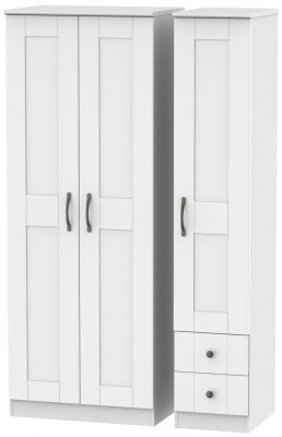 Kingston White Triple Wardrobe - Tall Plain with 2 Drawer