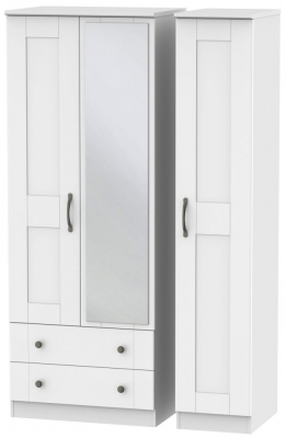 Kingston White Triple Wardrobe - Tall with 2 Drawer and Mirror