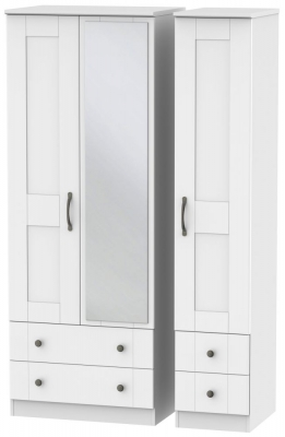Kingston White Triple Wardrobe - Tall with Drawer and Mirror