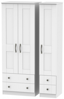Kingston White Triple Wardrobe - Tall with Drawer