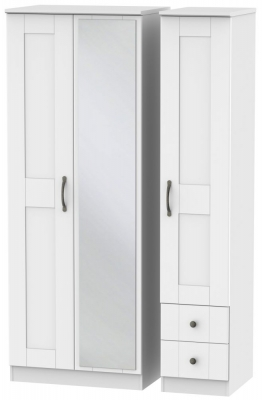 Kingston White Triple Wardrobe - Tall with Mirror and 2 Drawer