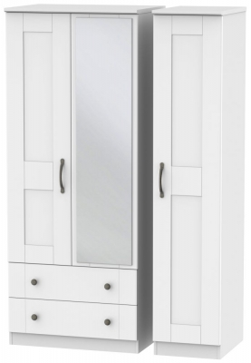 Kingston White Triple Wardrobe with 2 Drawer and Mirror
