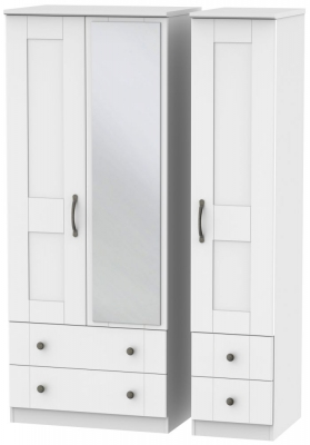 Kingston White Triple Wardrobe with Drawer and Mirror
