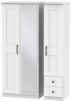 Kingston White Triple Wardrobe with Mirror and 2 Drawer