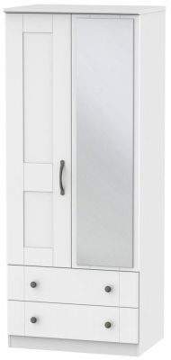 Kingston White Wardrobe - 2ft 6in 2 Drawer with Mirror