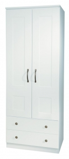 Kingston White Wardrobe - 2ft 6in 2 Drawer