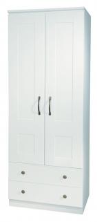 Kingston White Wardrobe - 2ft 6in 2 Drawer