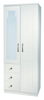 Kingston White Wardrobe - 2ft 6in Combination