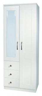 Kingston White Wardrobe - 2ft 6in Combination