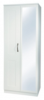 Kingston White Wardrobe - 2ft 6in Mirror