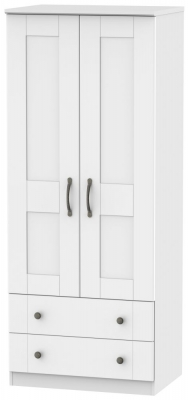 Kingston White Wardrobe - 2ft 6in with 2 Drawer