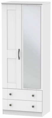 Kingston White Wardrobe - Tall 2ft 6in with 2 Drawer and Mirror