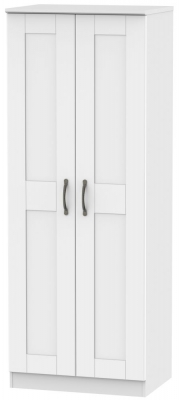 Kingston White Wardrobe - Tall 2ft 6in with Double Hanging