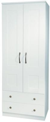 Kingston White Wardrobe - Tall 2ft6in 2 Drawer