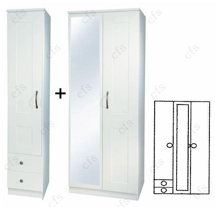 Kingston White 3 Door Wardrobe with Mirror and Drawer