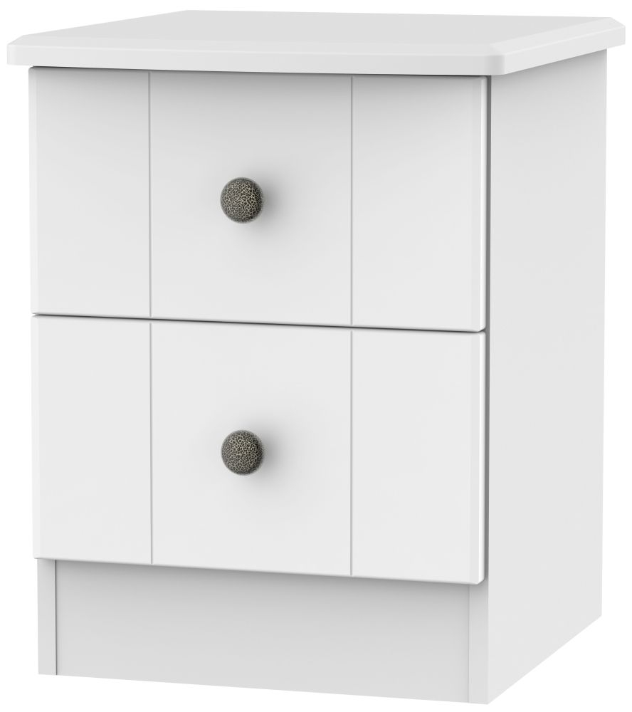 Kingston White Bedside Cabinet - 2 Drawer Locker