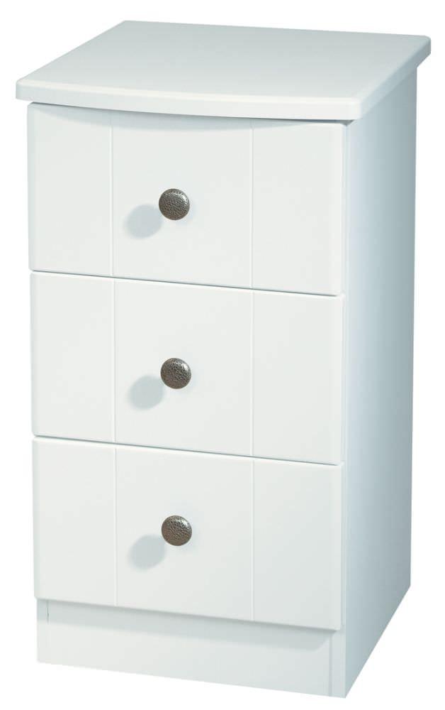 Kingston White Bedside Cabinet - 3 Drawer