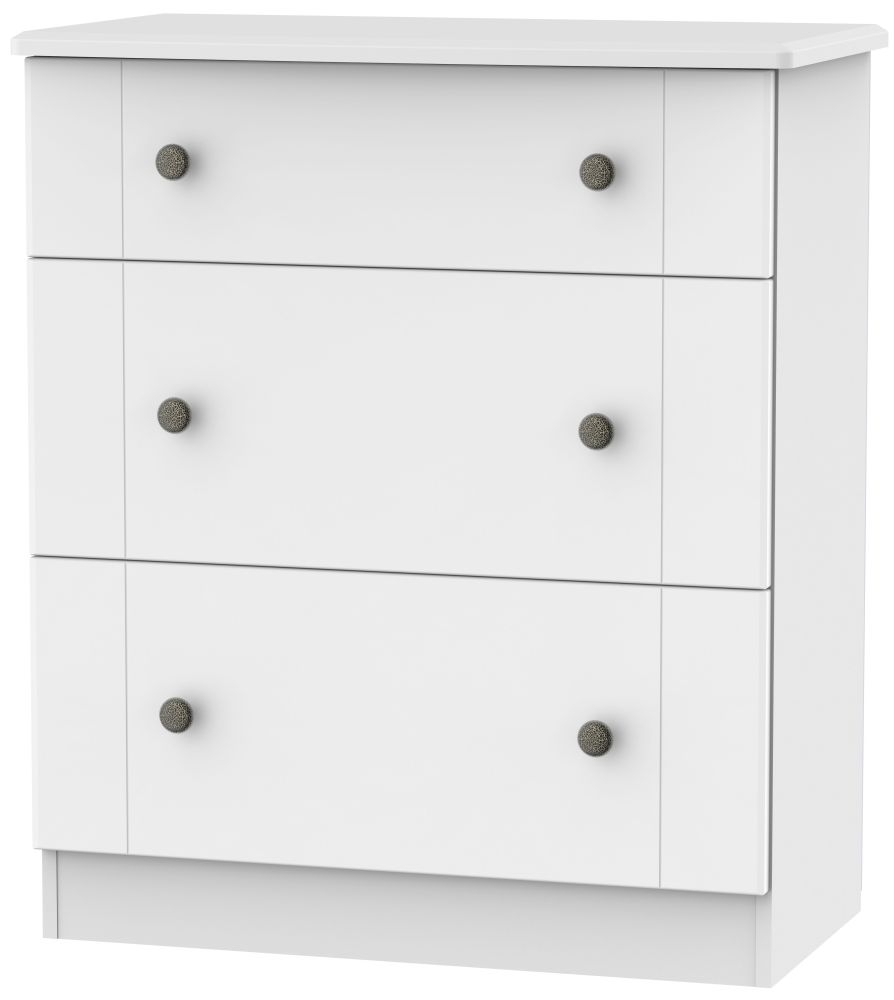Kingston White Chest of Drawer - 3 Drawer Deep