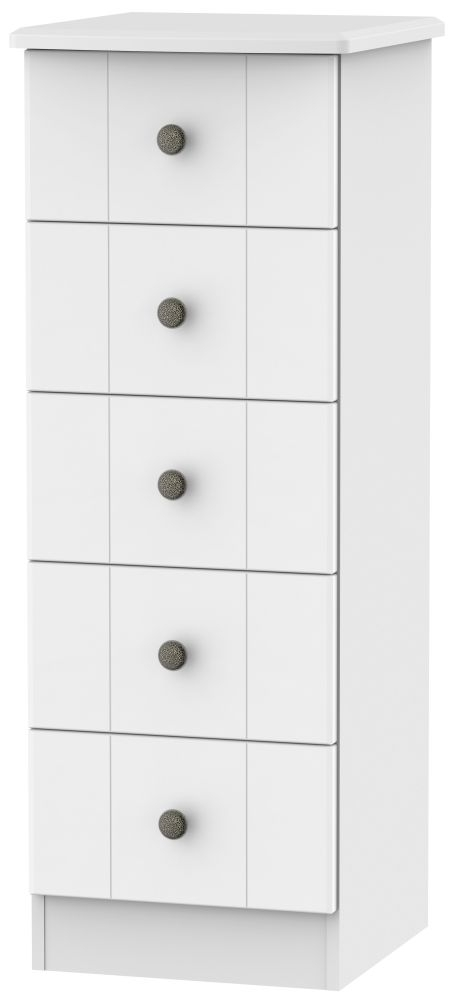 Kingston White Chest of Drawer - 5 Drawer Locker