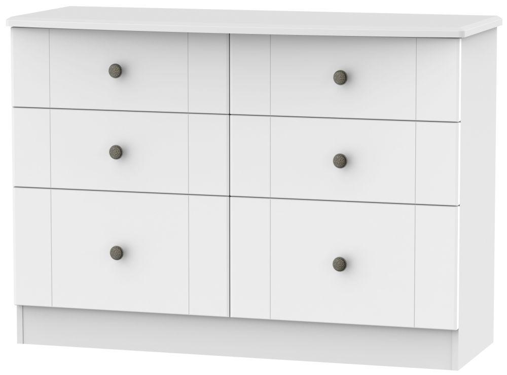 Kingston White Chest of Drawer - 6 Drawer Midi