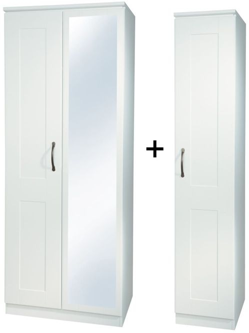 Kingston White Tall Triple Mirror Wardrobe