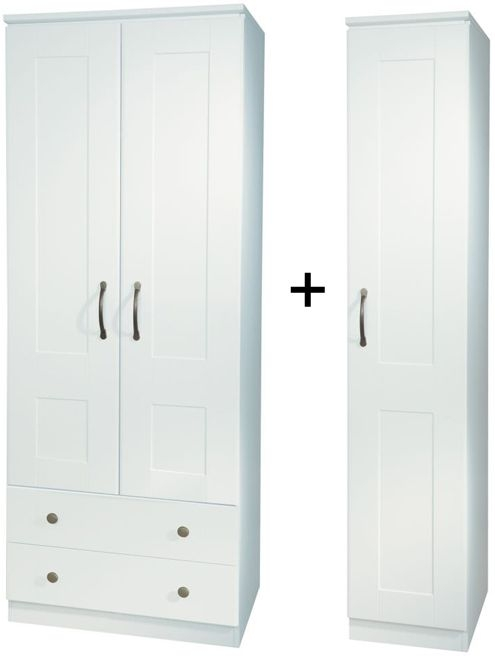 Kingston White Triple 2 Drawer Wardrobe