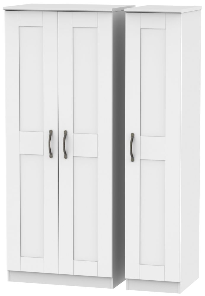 Kingston White Triple Plain Wardrobe