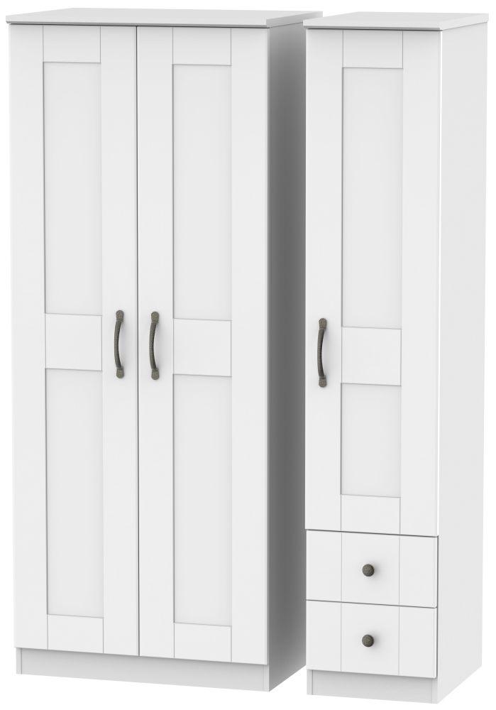 Kingston White Triple Wardrobe - Plain with 2 Drawer