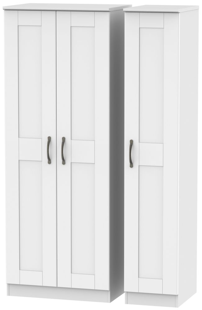 Kingston White Triple Wardrobe - Tall Plain