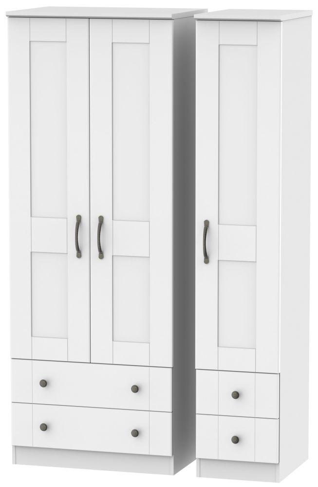 Kingston White Triple Wardrobe - Tall with Drawer