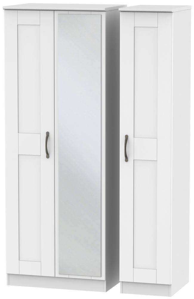 Kingston White Triple Wardrobe - Tall with Mirror