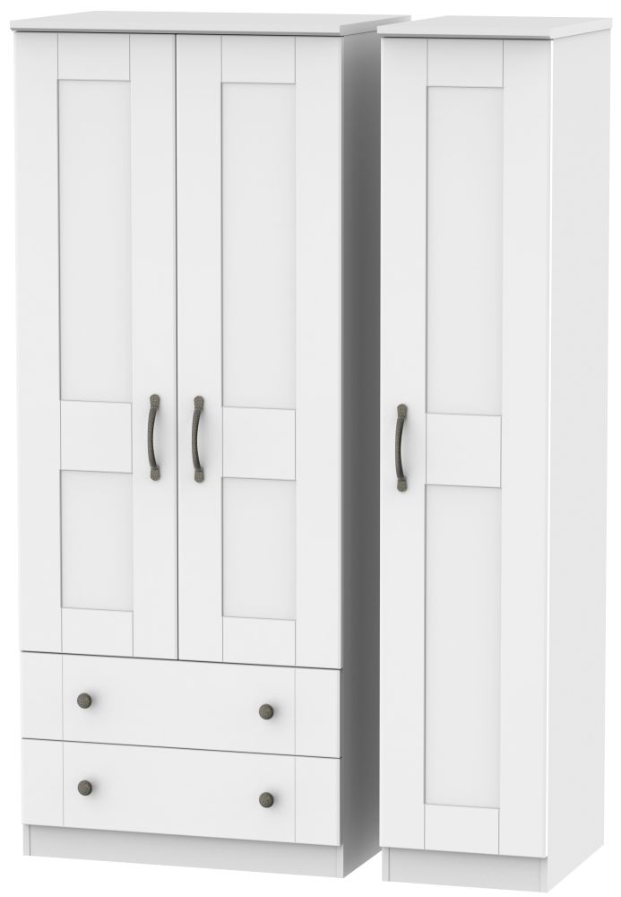 Kingston White Triple Wardrobe with 2 Drawer